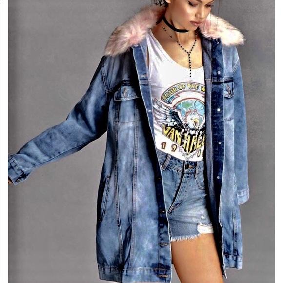 332aced416d6 NEW Max Jeans Long Denim Jacket w  Pink faux fur M